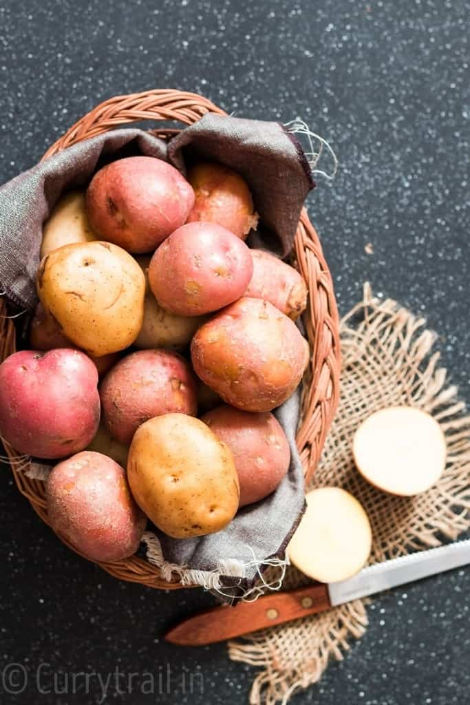 potatoes place in wire basket getting ready for instant pot potatoes roast