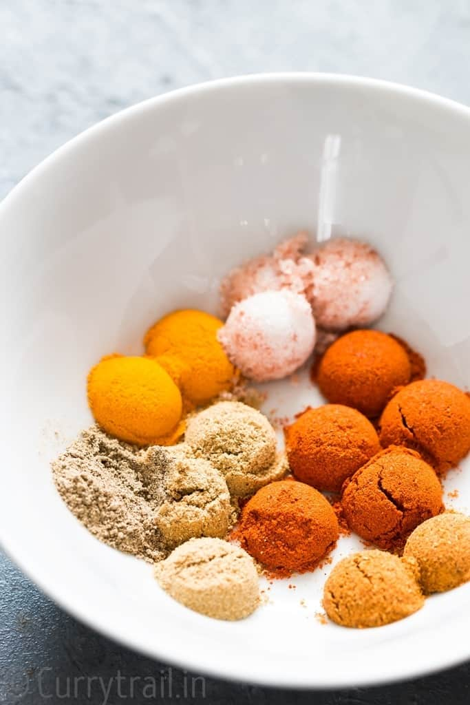 Spice powders in white bowl for instant pot butter chicken