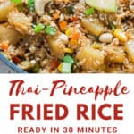 Thai pineapple fried rice with text overlay