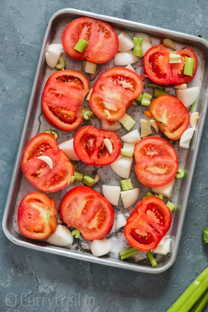 before roasting all ingredients on tray for roasted tomato basil soup