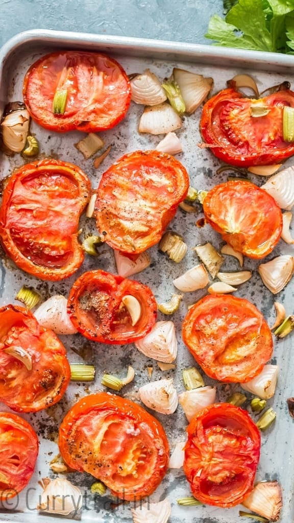 after roasting all ingredients on tray for roasted tomato basil soup