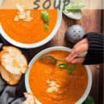 Roasted tomato basil soup with text overlay