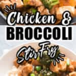 chicken stir fry with broccoli cooked in skillet with text