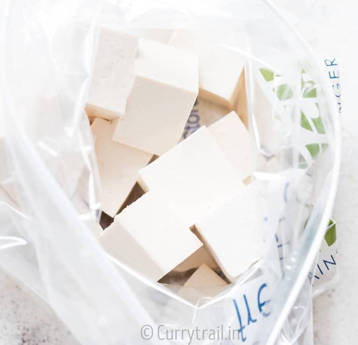Tofu cubes in zip lock pack -prep work for general tso's tofu