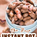 boiled peanuts in instant pot in bowl with text