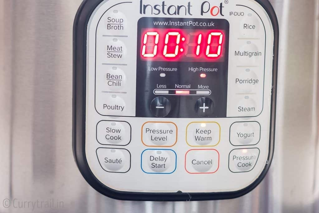 10 minutes on pressure cook mode to cook instant pot butternut squash soup
