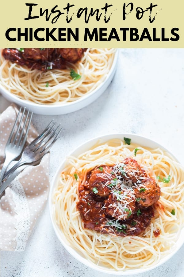 Instant pot chicken Parmesan meatballs with text overlay