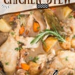 easy instant pot chicken stew recipe with text