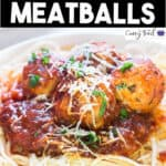 instant pot chicken parmesan meatballs served with pasta with text