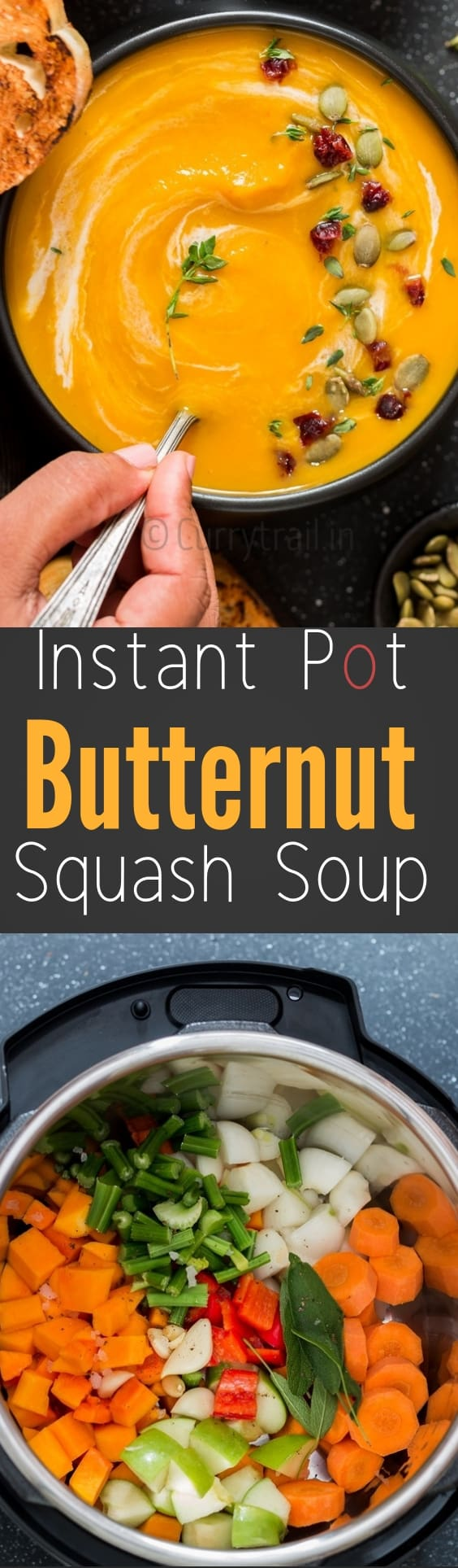 instant pot butternut squash soup served in black bowl with text overlay