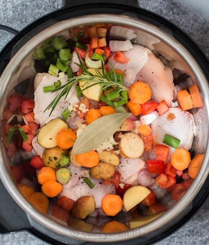 vegetables and chicken for instant pot chicken stew with all herbs and seasoning