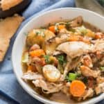 instant pot chicken stew in white bowl