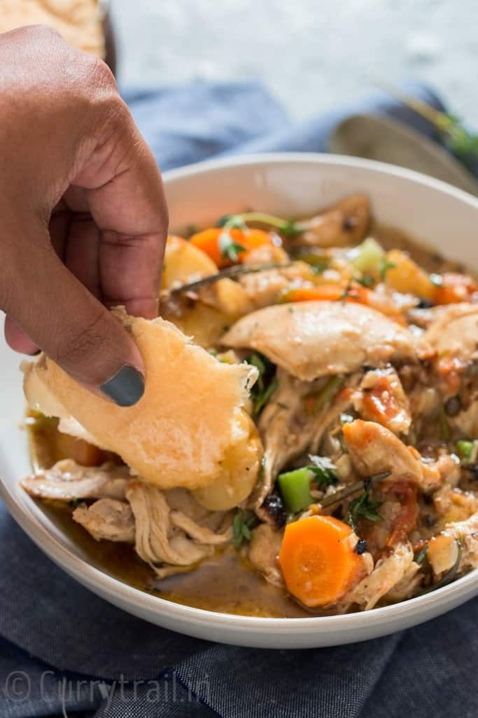 dunking bread into instant pot chicken stew