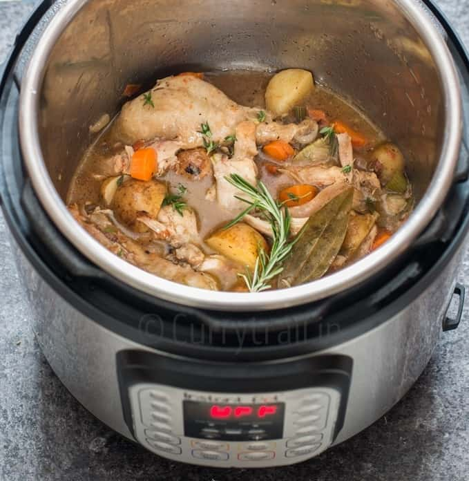 chicken stew cooked in instant pot