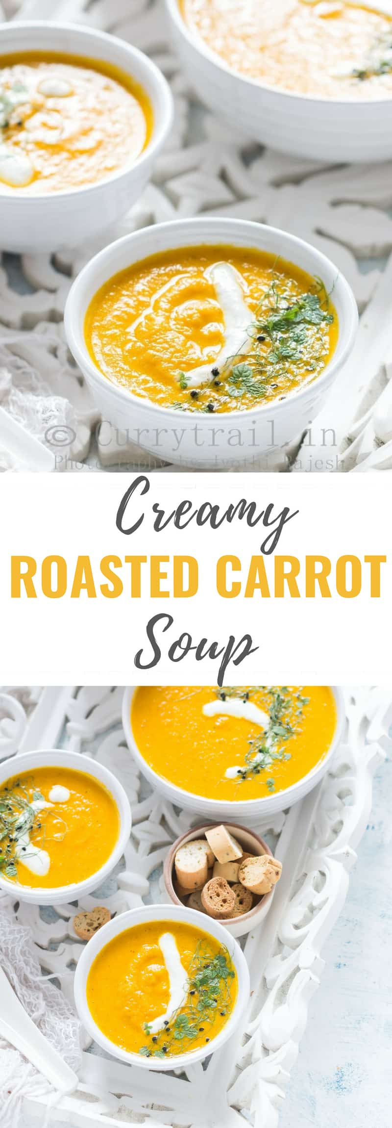 Roasted carrot soup with text overlay