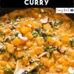 Thai butternut squash curry cooked in skillet with text