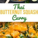 thai curry using butternut squash cooked in cast iron pan served over rice with text