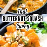 Thai butternut squash curry served with rice with text overlay