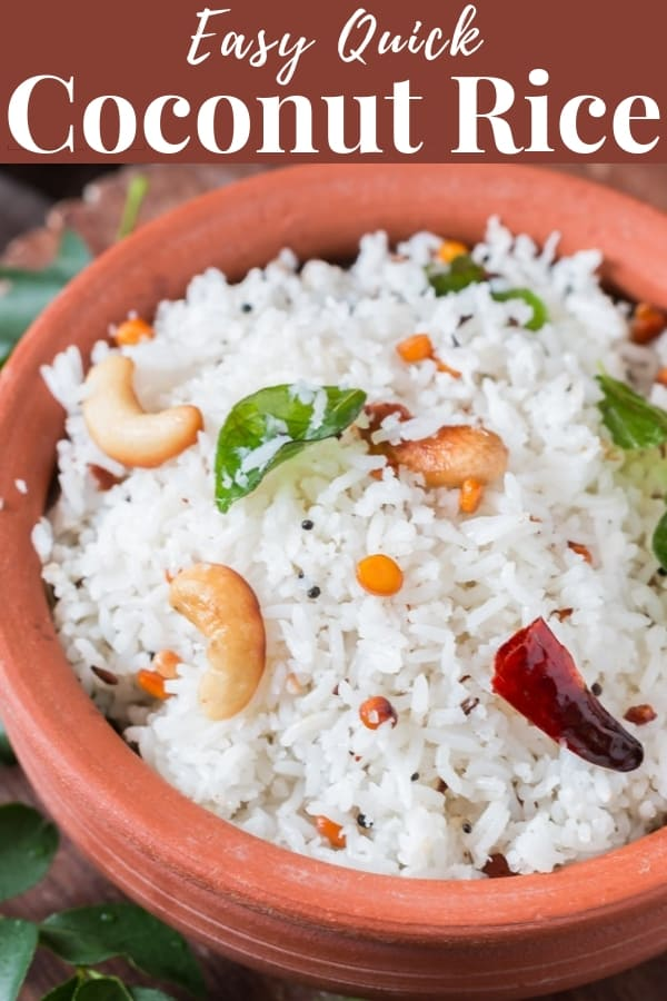 coconut rice recipe with text overlay