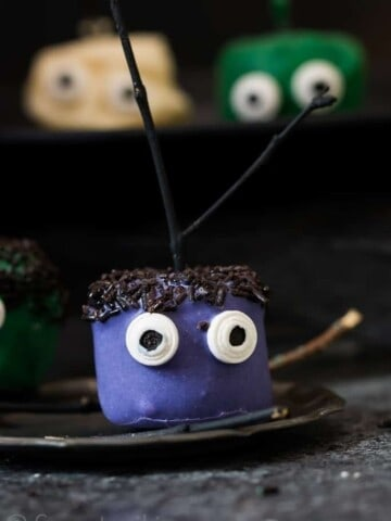 Halloween Marshmallow Pops - fun Halloween treat that is super easy to make. For you last minute Halloween treat