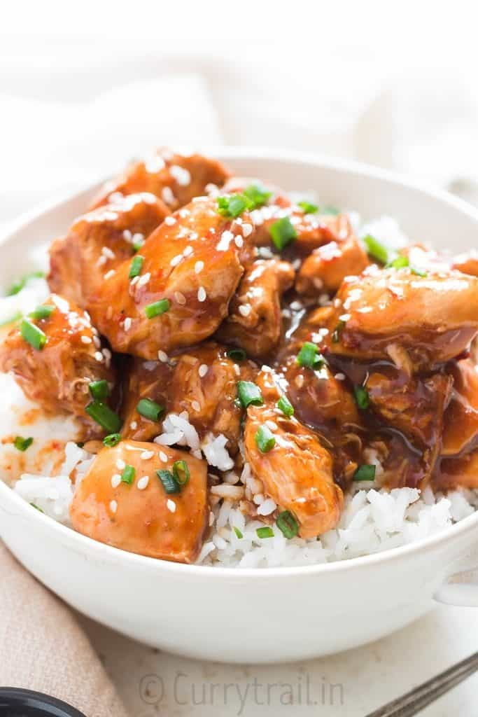 saucy, delicious instant pot General Tso chicken over white rice