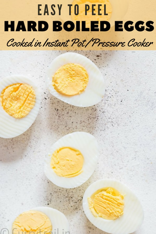 Instant pot hard boiled eggs with text overlay