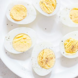 perfect instant pot hard boiled eggs seasoned with salt and pepper