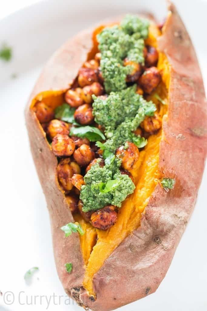 sweet potatoes stuffed with spicy chickpeas and pesto
