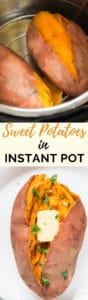 instant pot sweet potatoes with butter and cilantro in it with text overlay