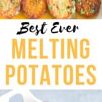 melting potatoes with text overlay