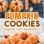 pumpkin cookies shaped like pumpkin on wire rack with text