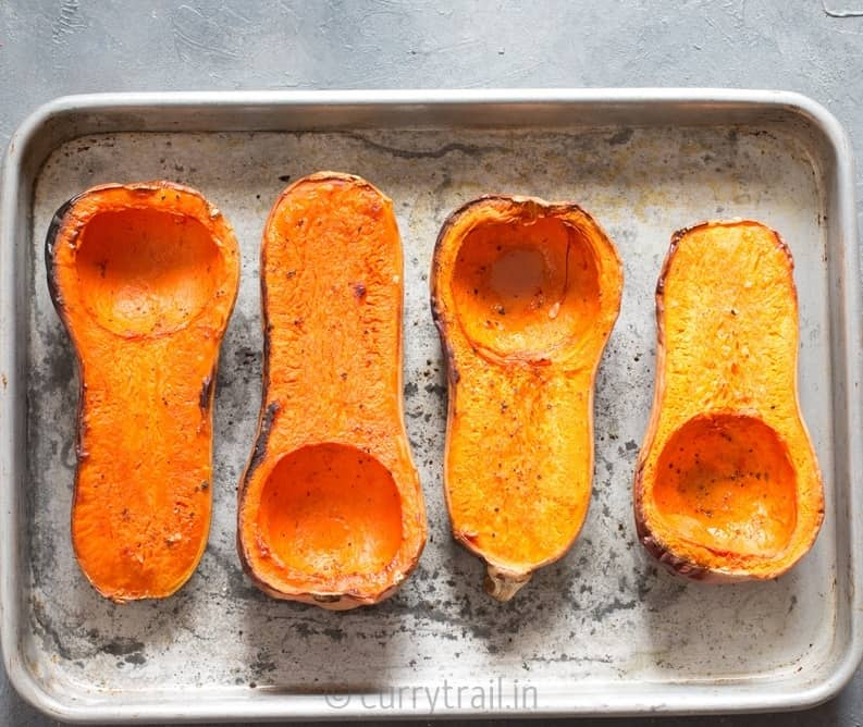 Roasted butternut squash for stuffed butternut squash