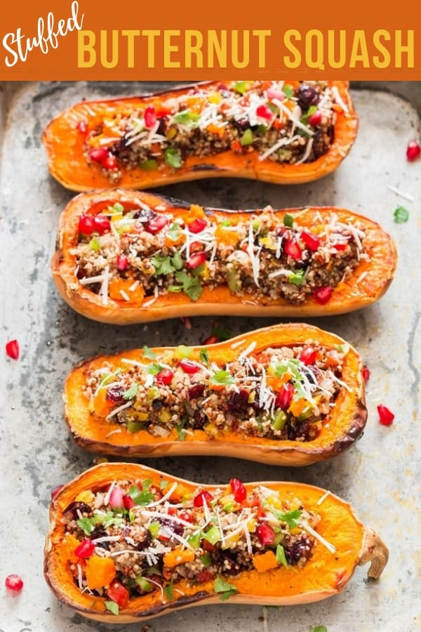 Stuffed butternut squash with text overlay