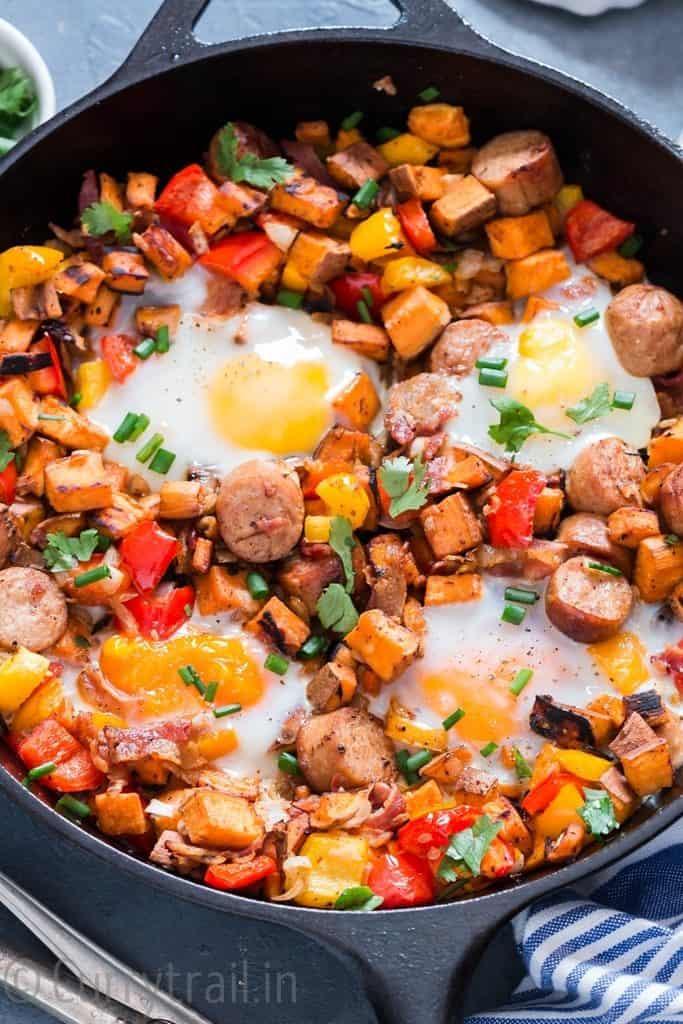 sweet potato hash in cast iron pan