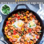 sweet potato hash in cast iron pan with text overlay