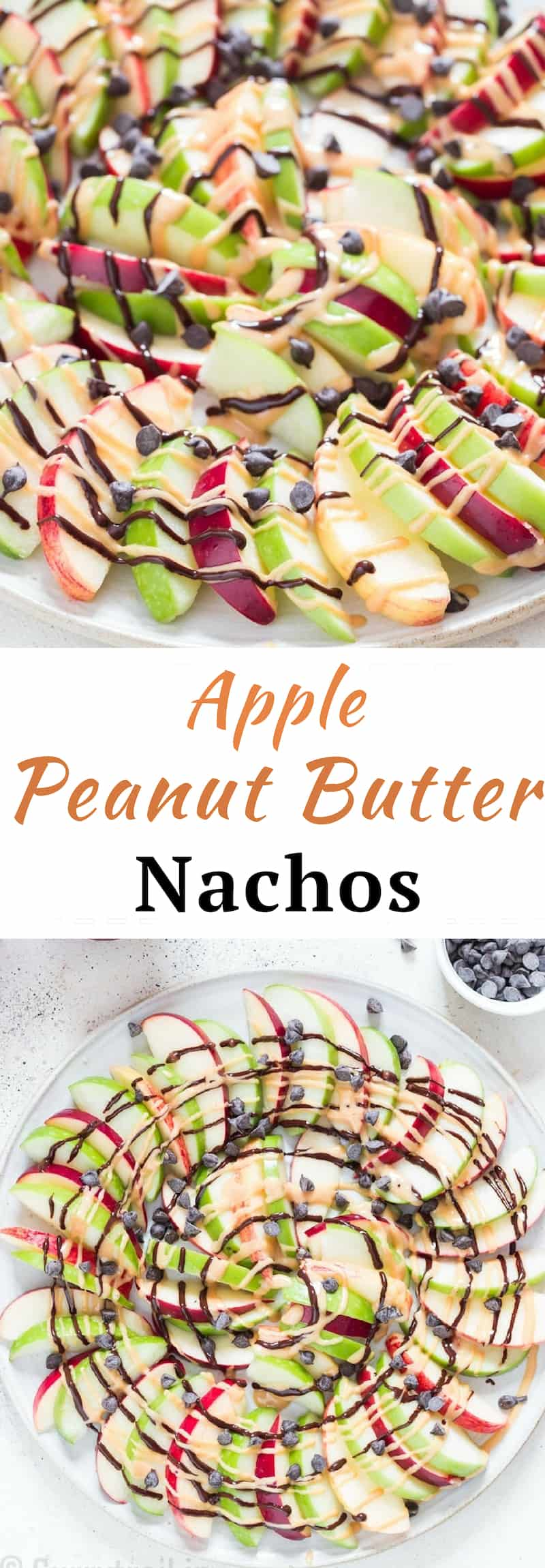apple and peanut butter nachos with text overlay