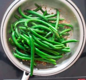 blanched green beans in skillet