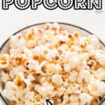 absolutely perfect fluffy popcorn cooked in instant pot with text