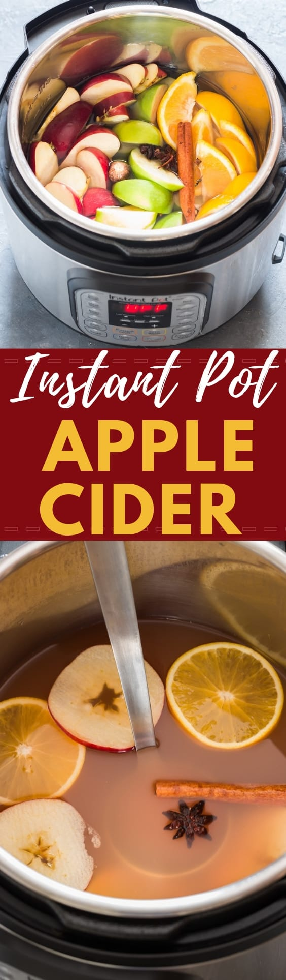 Instant pot spiced apple cider with text overlay