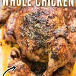 whole chicken cooked in instant pot in tray with text