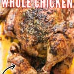 pressure cooker whole chicken cooked in instant pot in tray with text