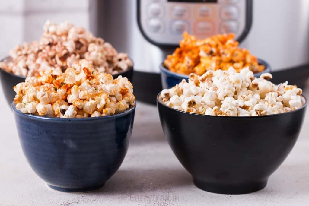 instant pot popcorn with 4 ways to flavor