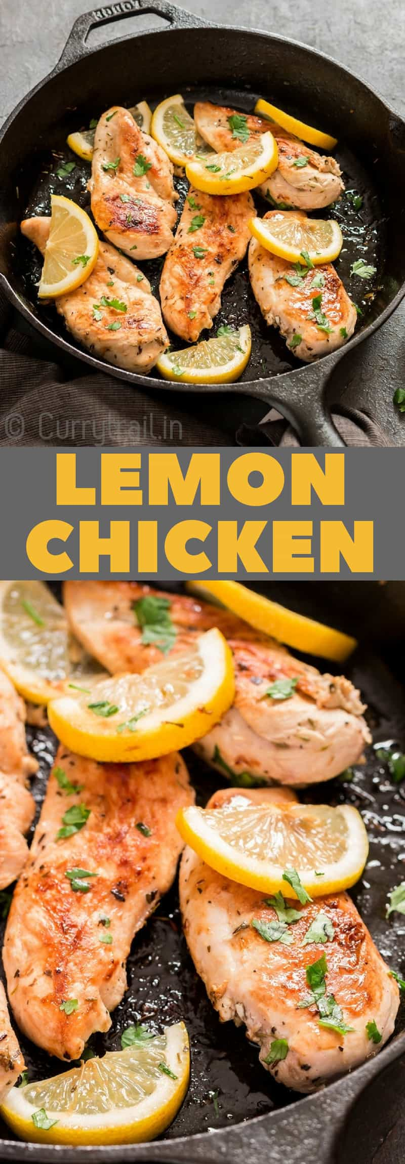 lemon chicken in cast iron skillet with text overlay