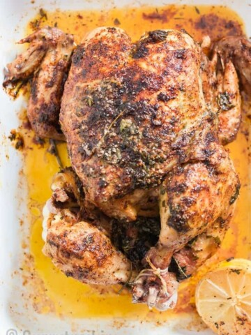 instant pot roast chicken on white tray