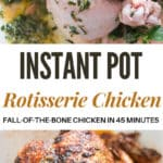pressure cooker whole chicken cooked in instant pot with text overlay