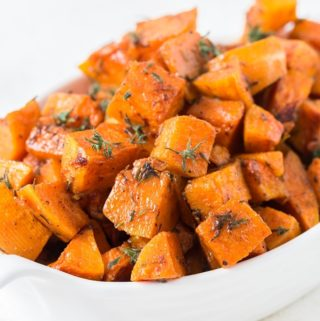 roasted butternut squash in white bowl