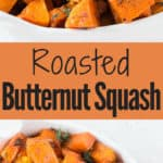 roasted butternut squash in white bowl with text overlay