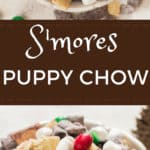 puppy chow in white bowl with text overlay