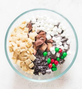 mixing puppy chow in bowl