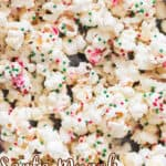 Santa munch Christmas popcorn with text overlay